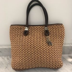 Brighton Straw and Leather Braided Handle Bag